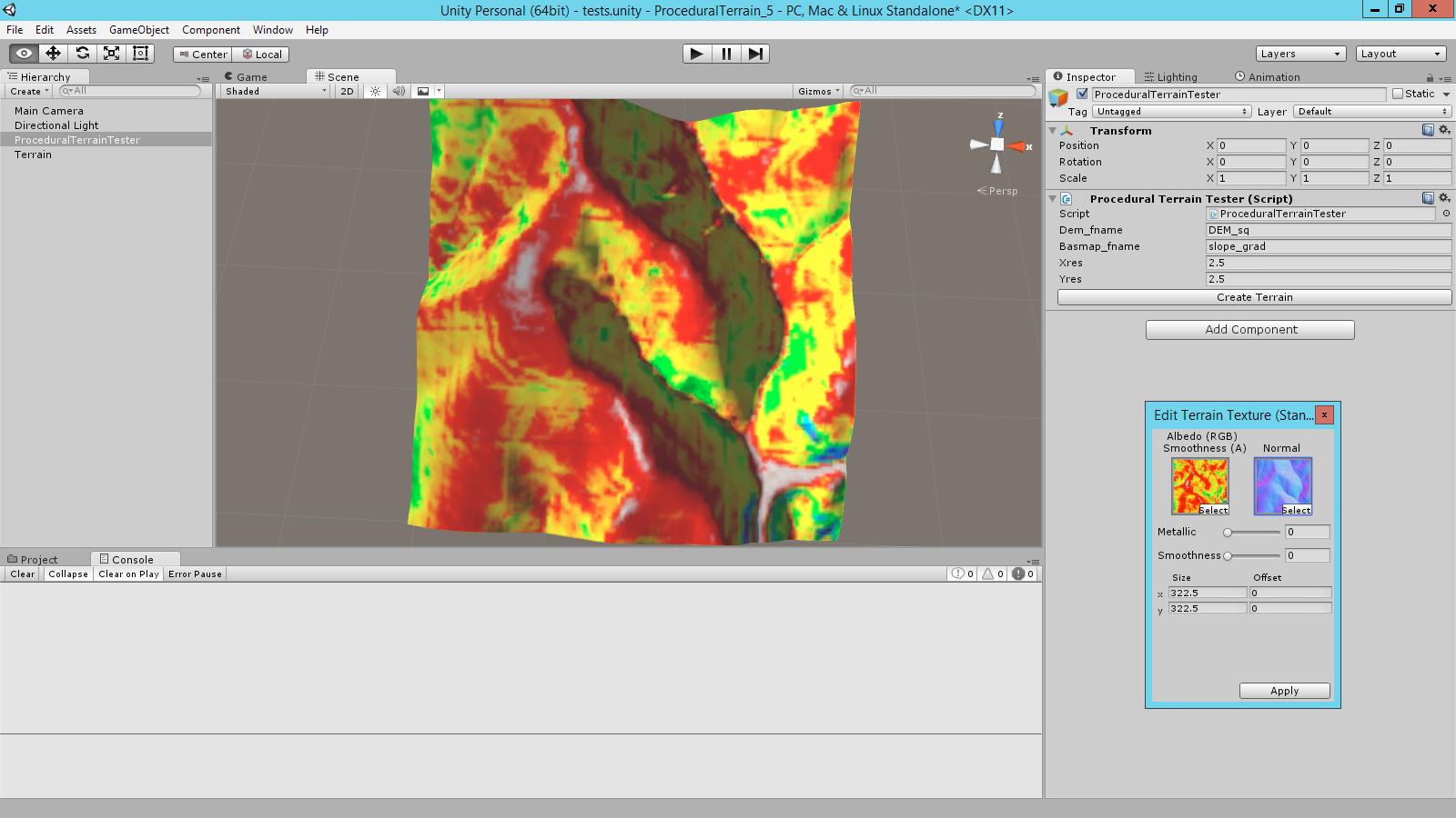 Procedural terrains from 32bit DEM geotiffs, runtime normal map