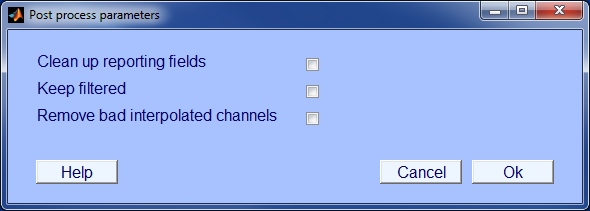 PREP post process menu
