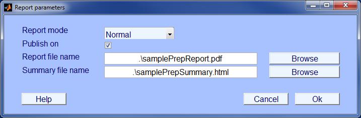 PREP report menu
