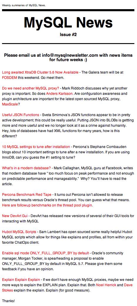 mysql newsletter example