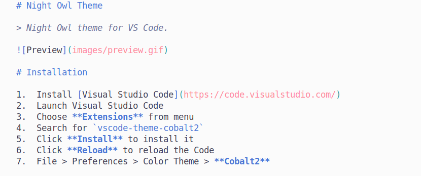 preview syntax markdown