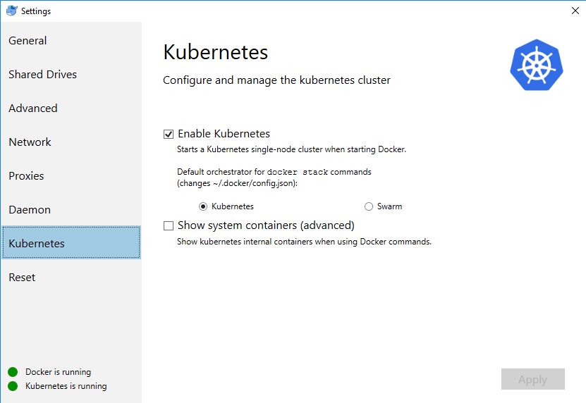 Built-in kubernetes in docker for windows as a quick