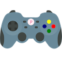 A game controller with a circled letter P where the guide/home/Xbox/PS button would be.