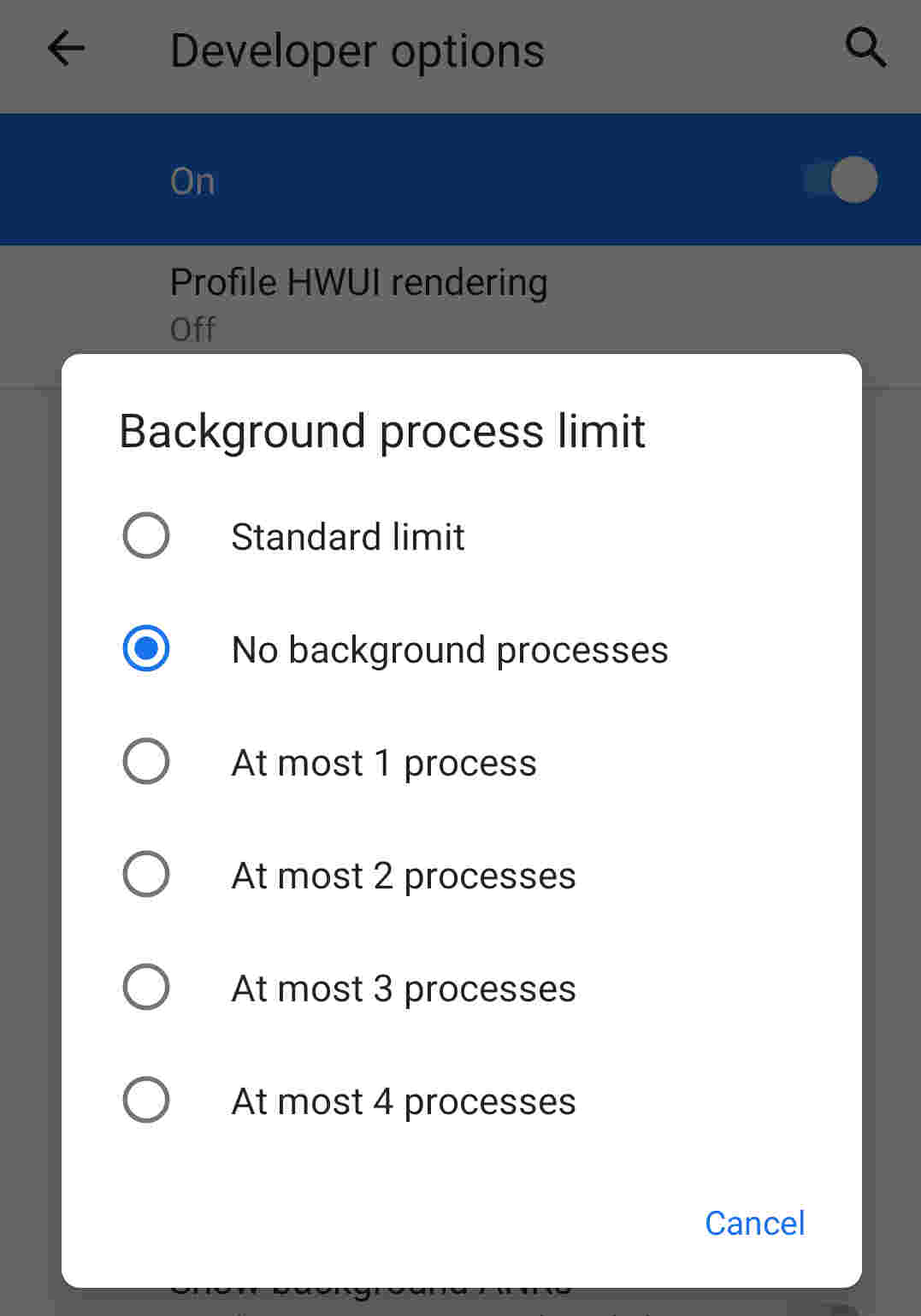 background processes limit in settings