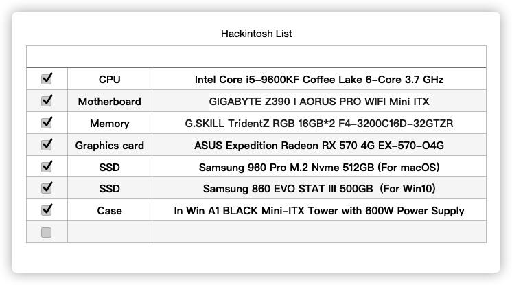 GIGABYTE Z390 I AORUS PRO WIFI Mini ITX  i5-9600KF RX 570