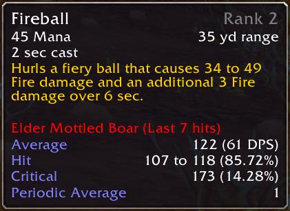 Fireball has been cast 7 times on an Elder Mottled Boar