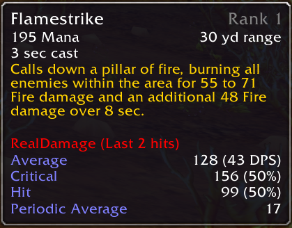 In this screenshot Flamestike has only been cast twice. The first time it hit for 99 damage. The second time it critted for 156. The average damage per cast is thus 128 which with a 3 second cast yielding 43 DPS. Additionally it added a DOT component dealing 17 damage per tick. More casts will add damage ranges and the accuracy of the critical percentage will increase.
