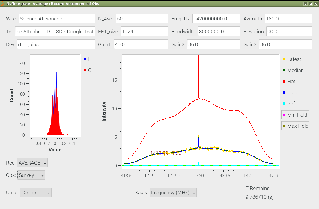 GnuRadio Observer Interfaces showing Raw Spectra in counts.