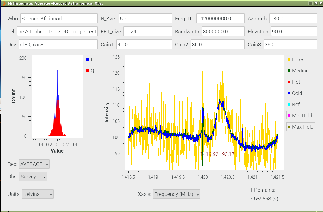 GnuRadio Observer Interfaces showing Spectra calibrated in Kelvins.