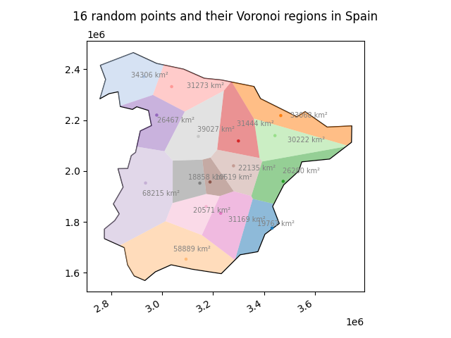 Voronoi regions of random points across Spain and their respective area