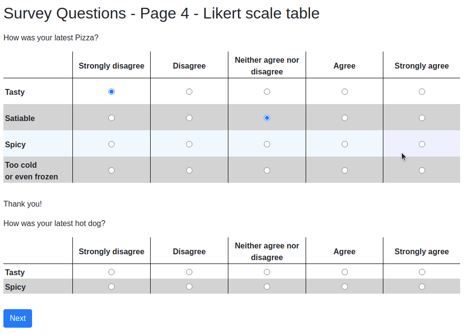 survey page with Likert matrix