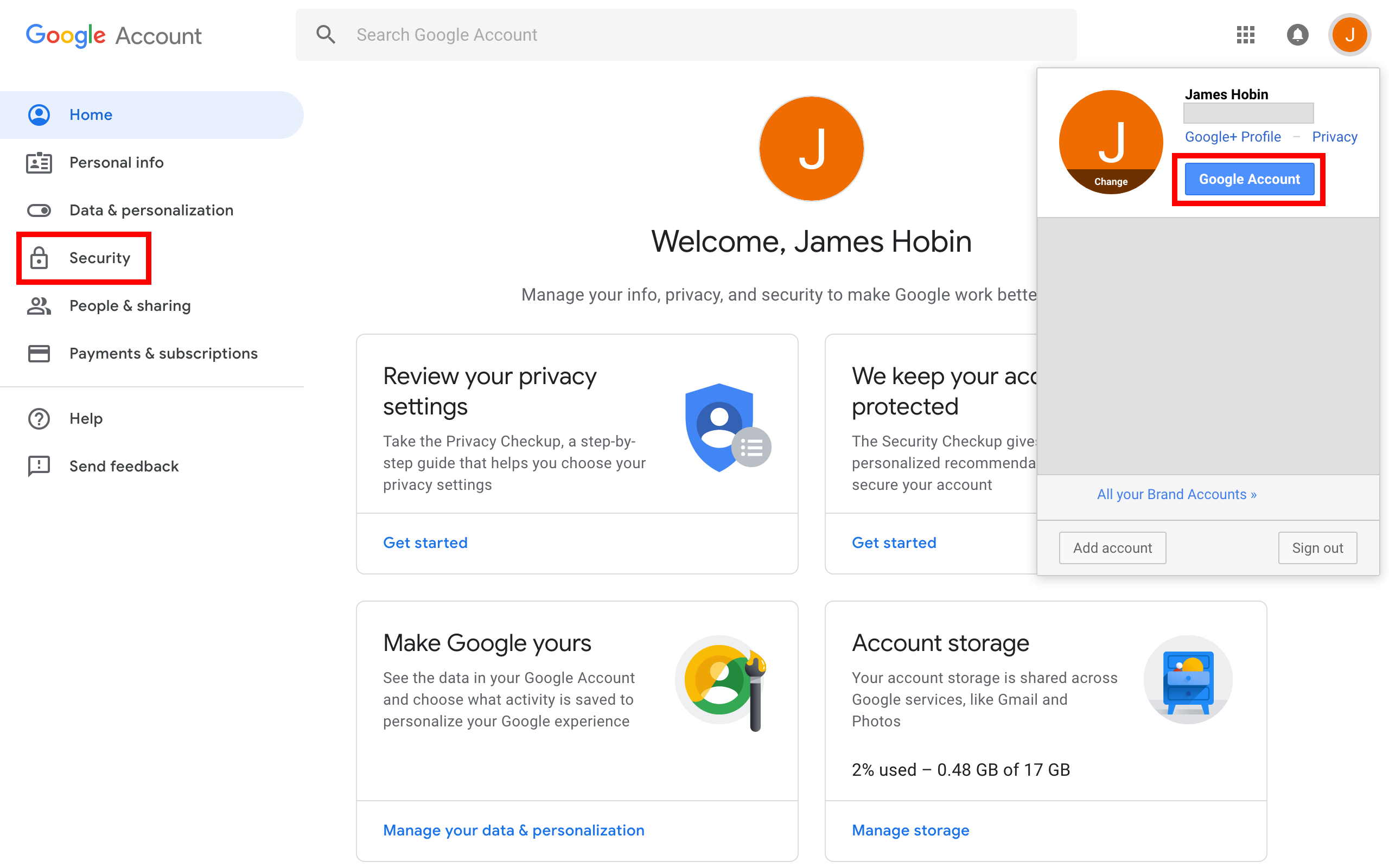 The profile icon dropdown with the Google Account and Security links highlighted