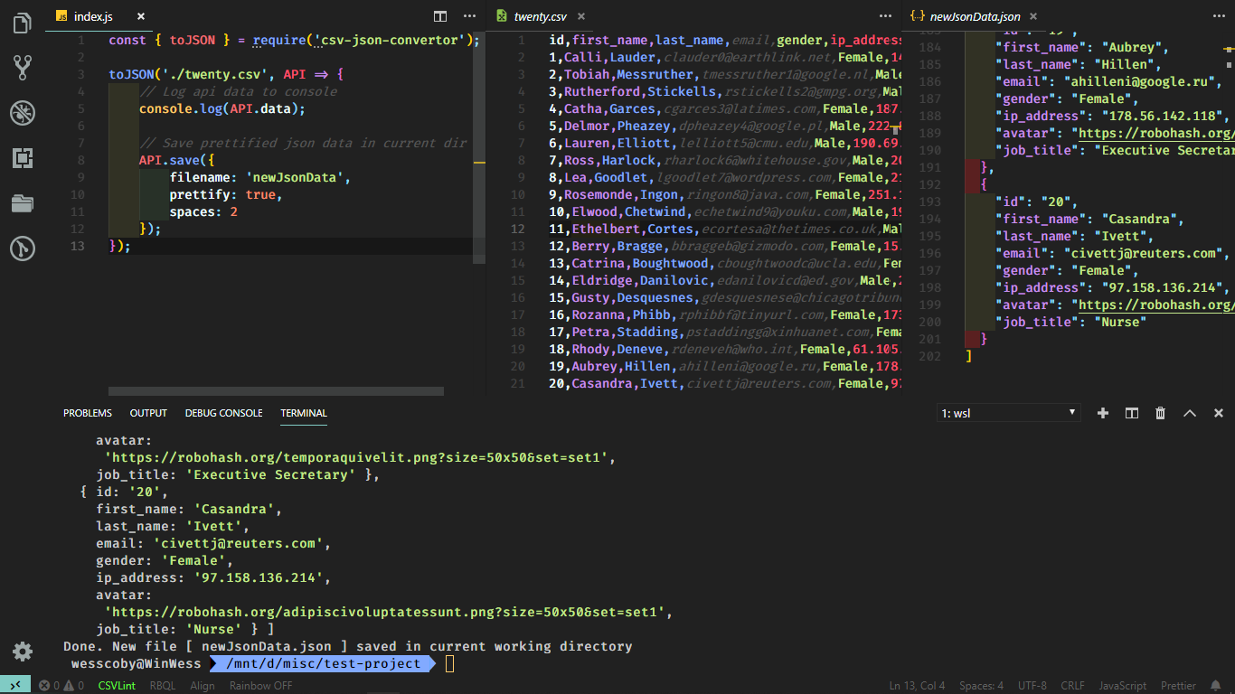 Preview of conversion to json