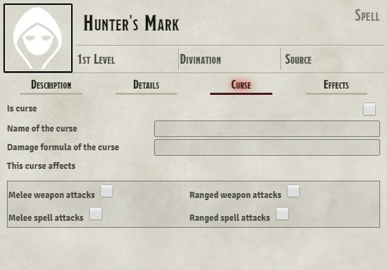 Blank Curse tab on Hunter's Mark item