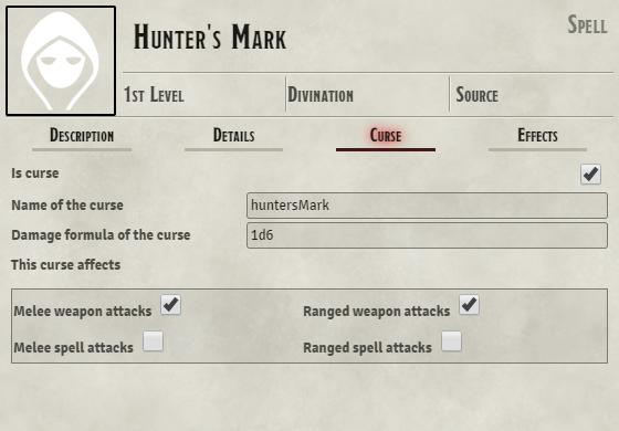 Filled Curse tab on Hunter's Mark item