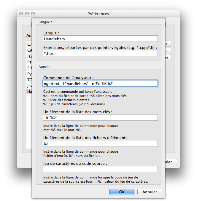 configure xgettext parser