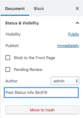 Location in the Status & visibility panel