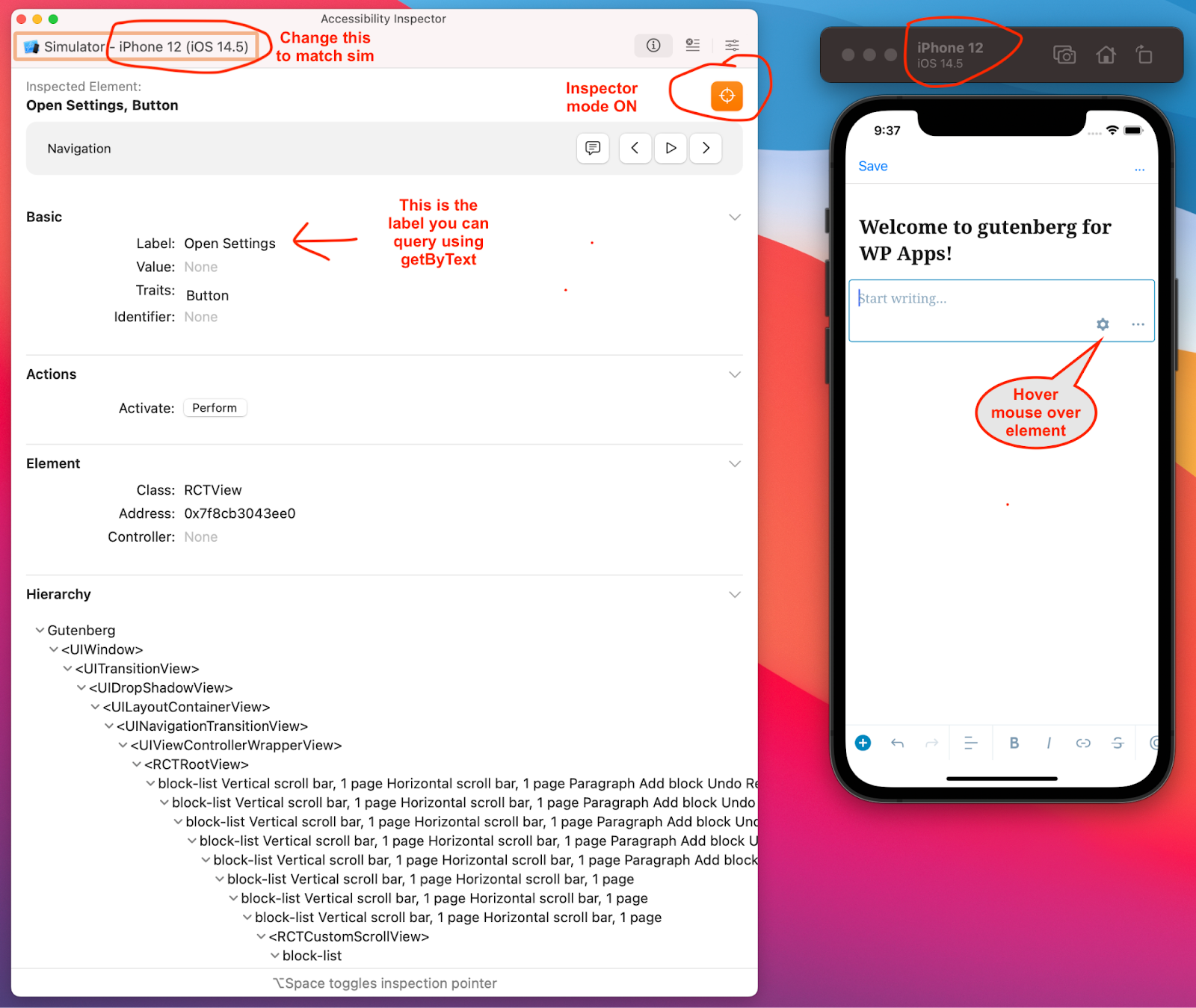 Screenshot of the Xcode Accessibility Inspector app. The screenshot shows how to choose the correct target in the device dropdown, enable target mode, and locate accessibility labels after tapping on screen elements