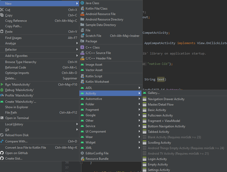 Creating a new Activity with Android Studio