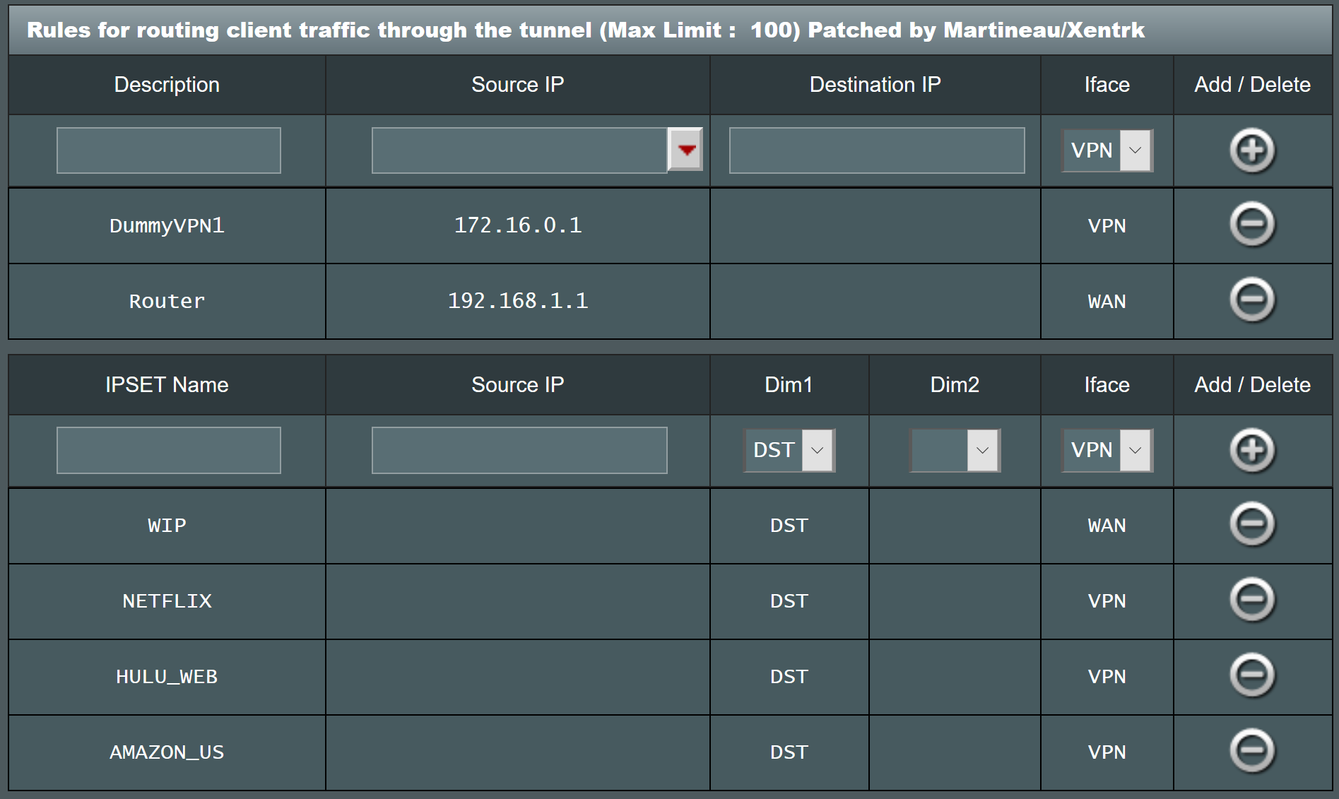 Policy Routing Screen