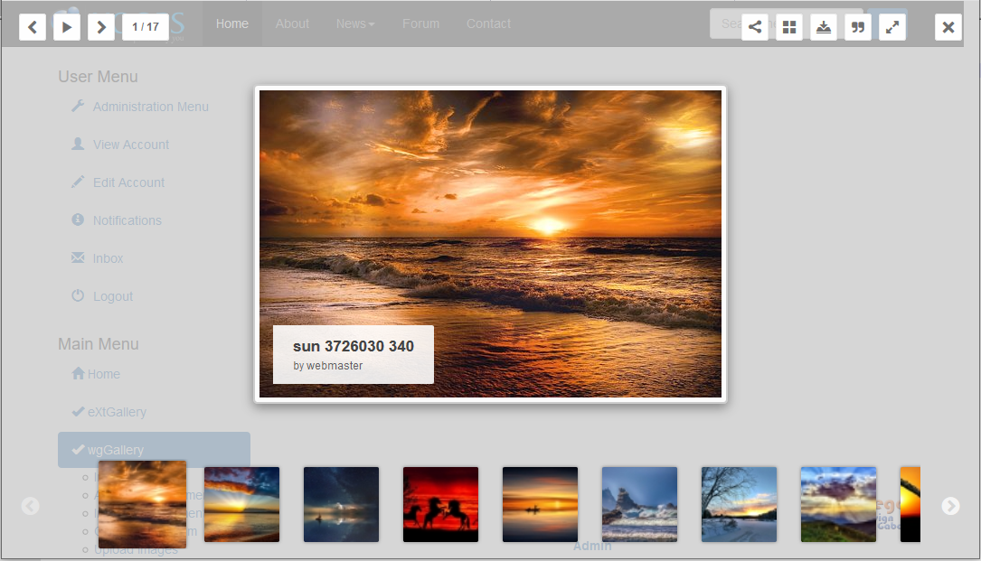 Example of image gallery on user side