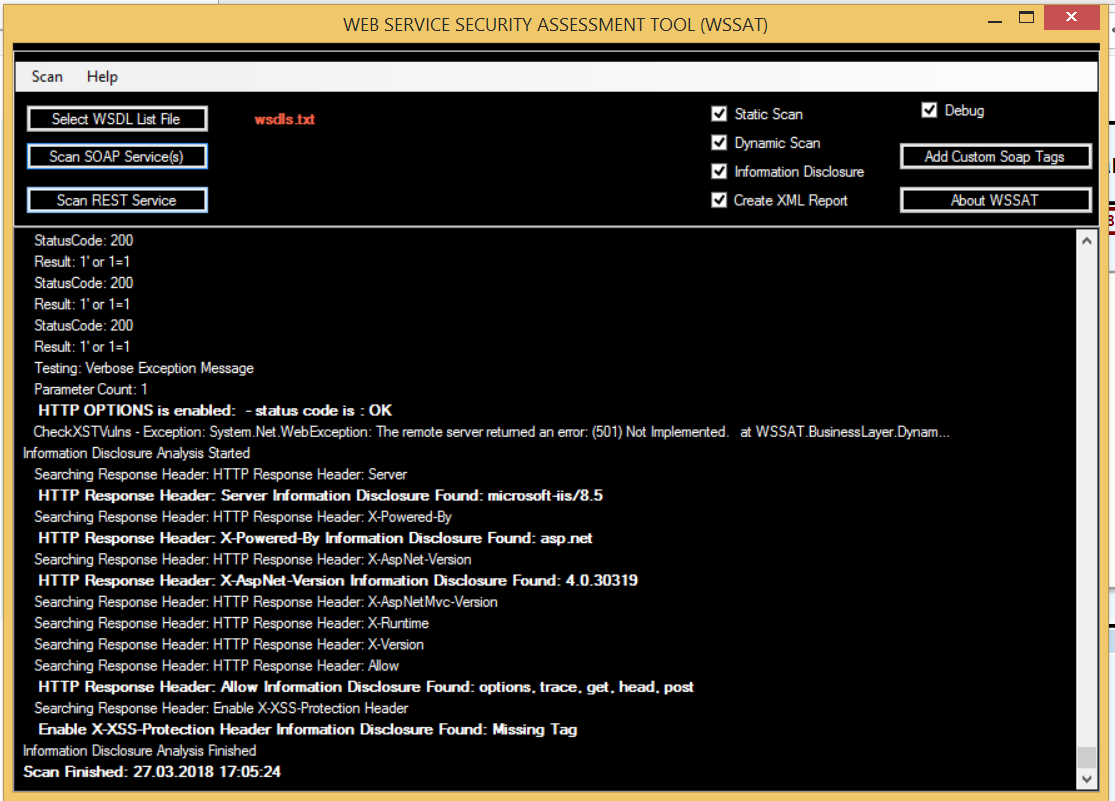 WSSAT Main Screen