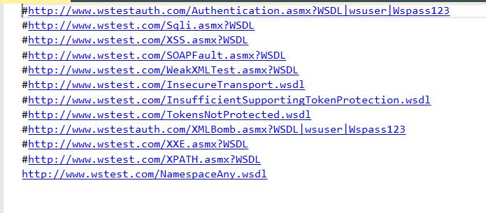 Sample WSDL List File