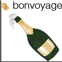 Bonvoyage logo: A bottle of champagne as the y=-x + 1 line on a Cartesian plane