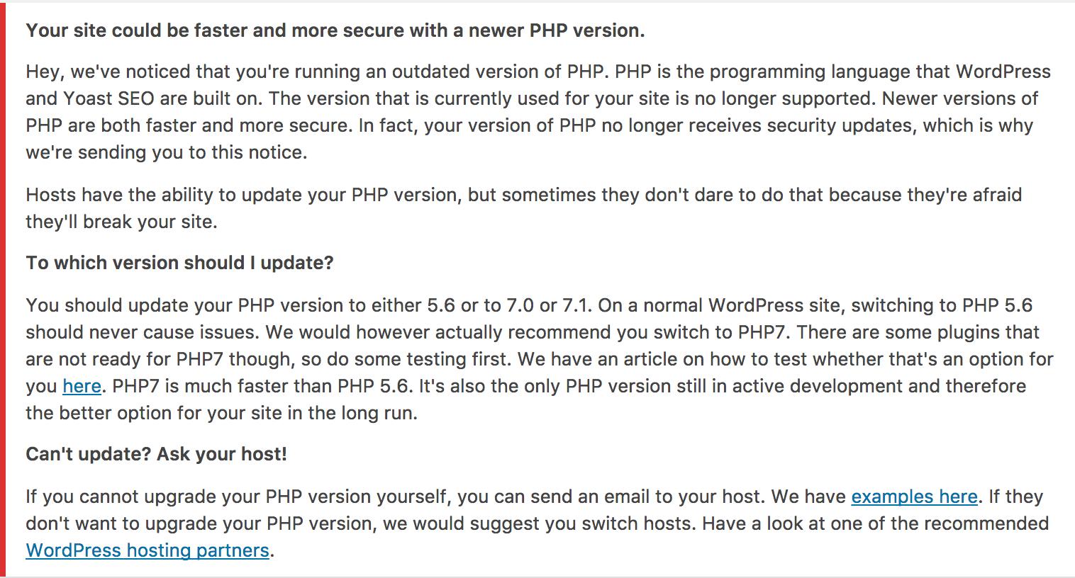 Screenshot of the WordPress notice