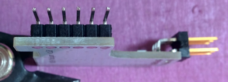 Clipped headers soldered on PCB