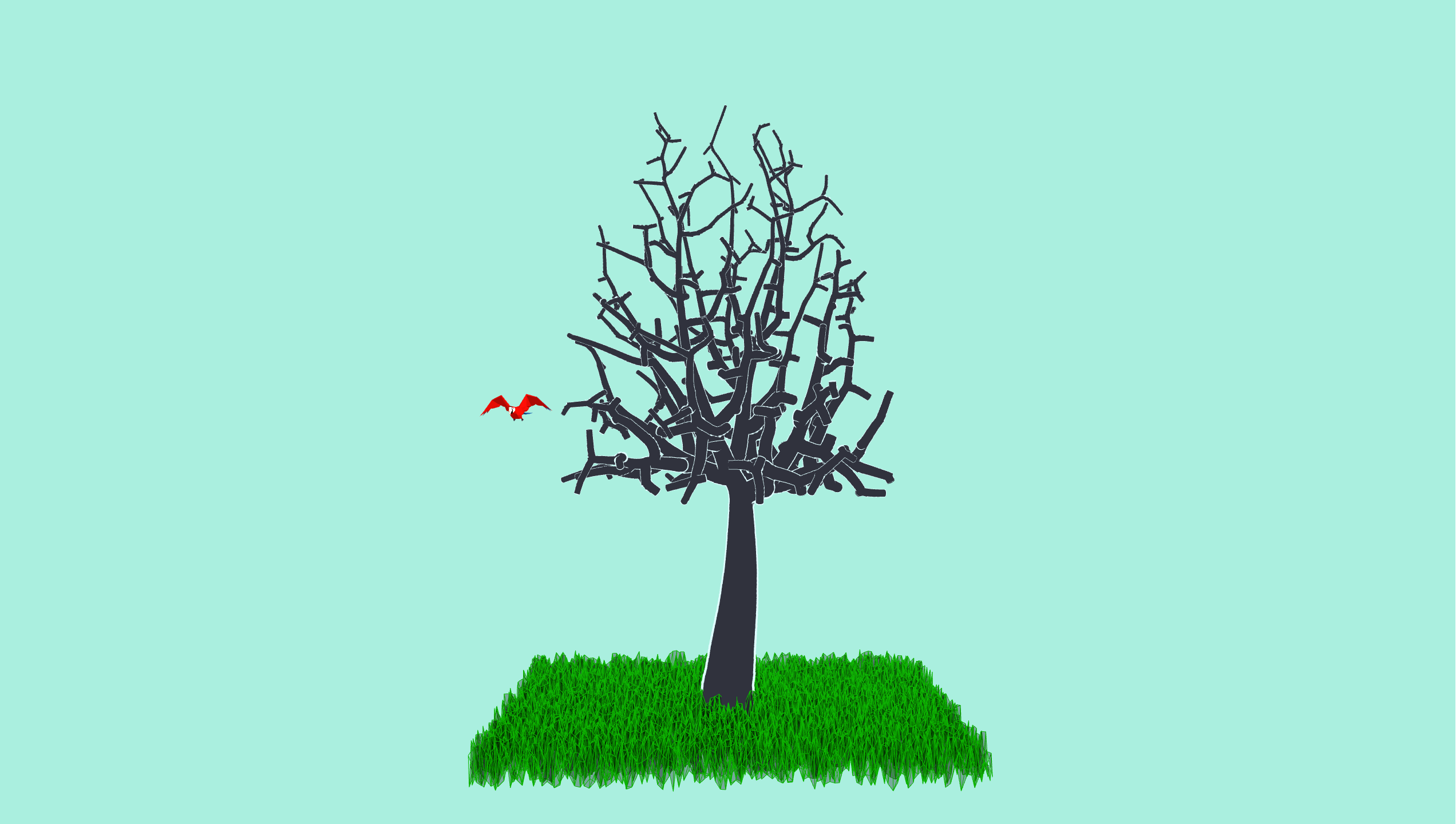 3D model of tree with polygon grass