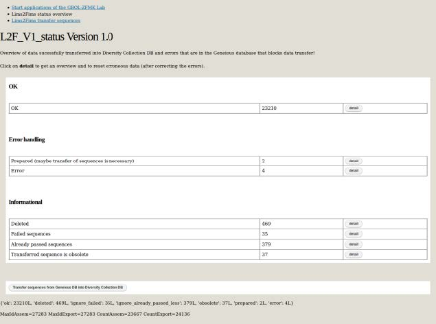 lims2fims status page
