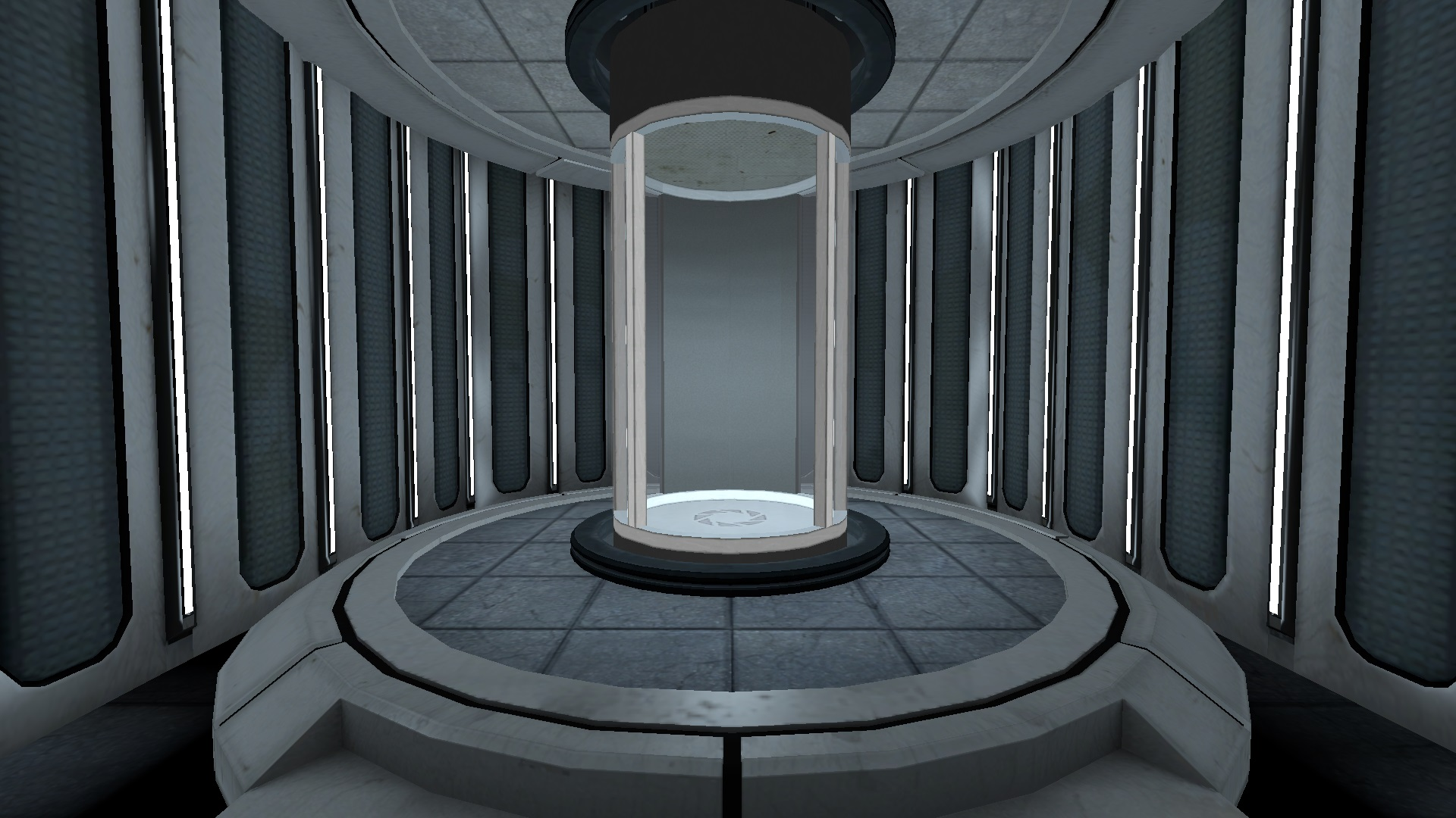 The elevator at the end is smaller than the regular elevators in Portal and travels through vital apparatus vents.