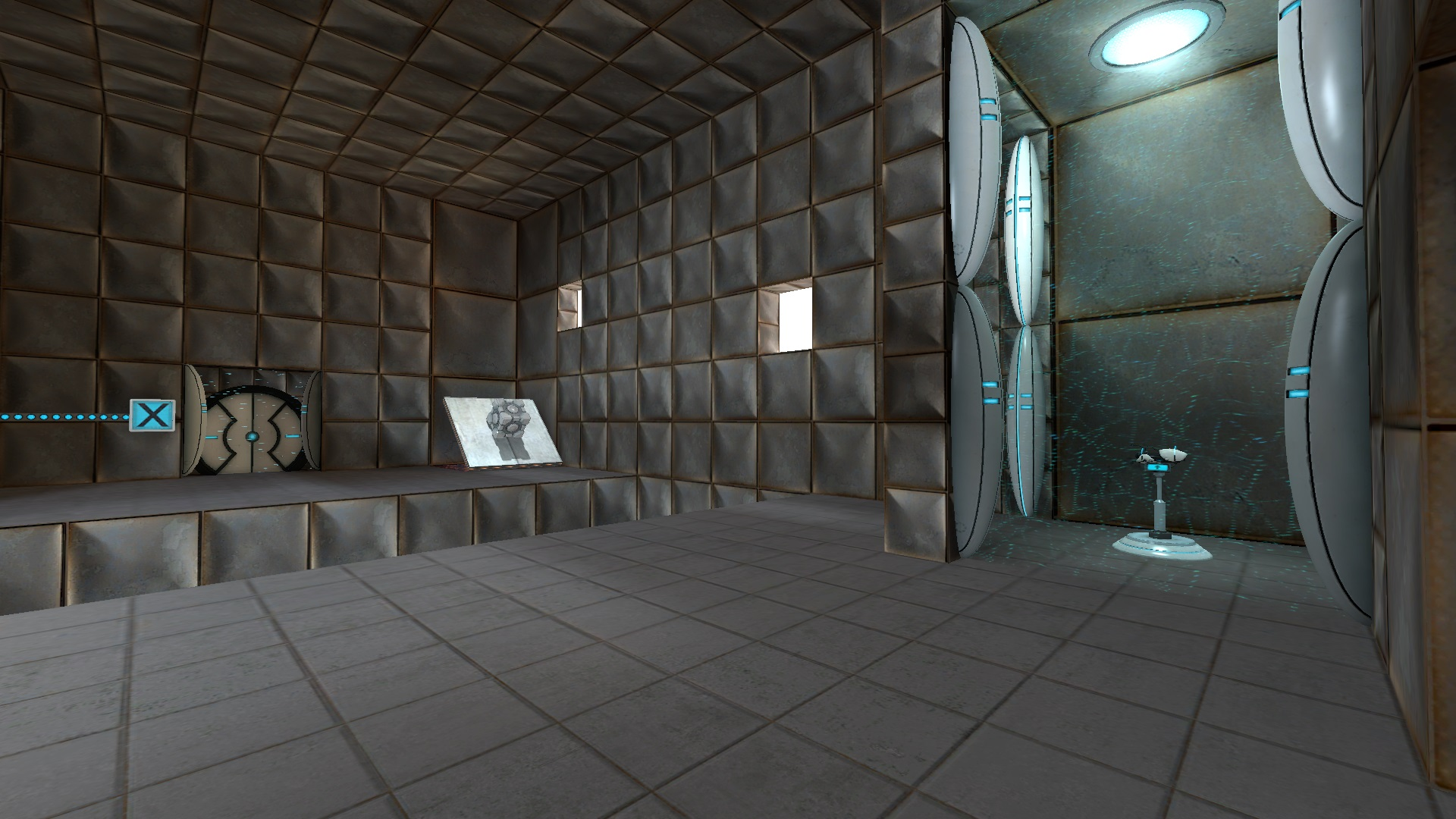 The second tutorial room has a cube on an angled panel the portal device can fire at.