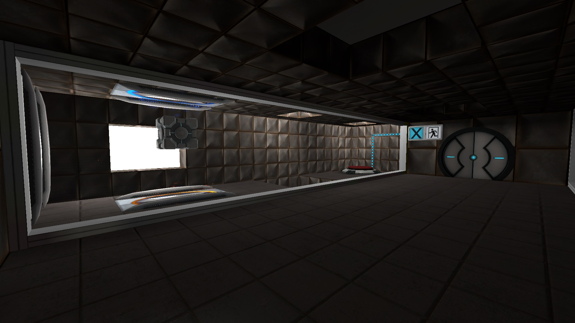 The third tutorial room includes a cube in an infinite fall.