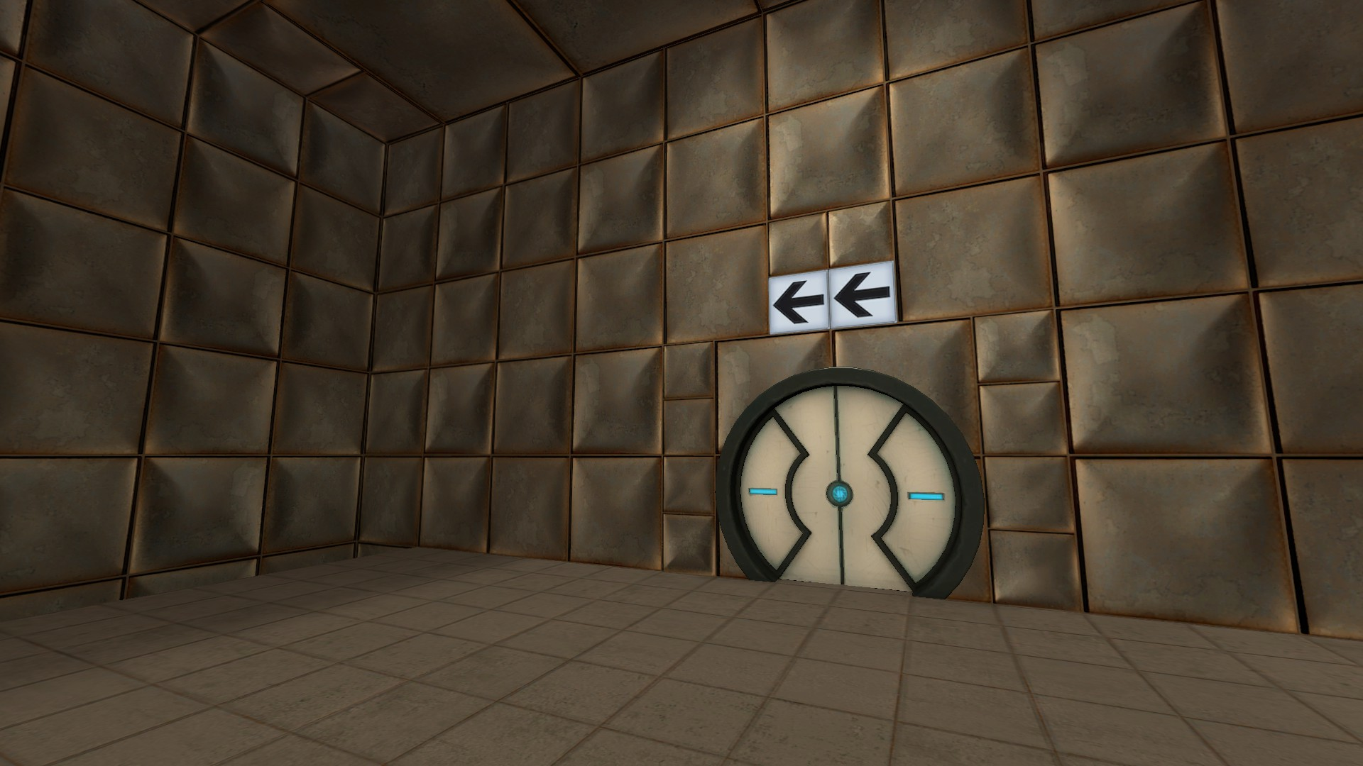 The exit sign at the end of the second fling room flips to reveal arrows pointing to another part of the level.