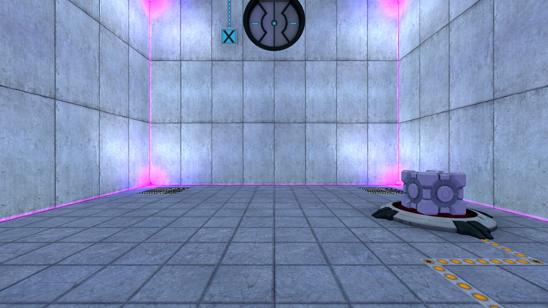 The first room has a button on the floor, a button on the ceiling, and glowing gravity field emitters in the corners connected by glowing beams.