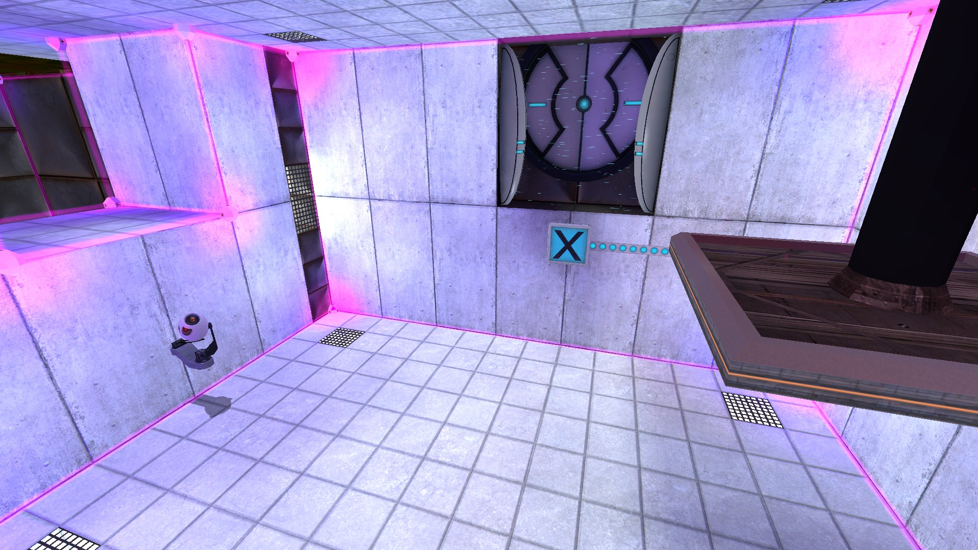 The second room is upside down and starts with a button on the right, the exit door in the middle, and a security camera on the right.