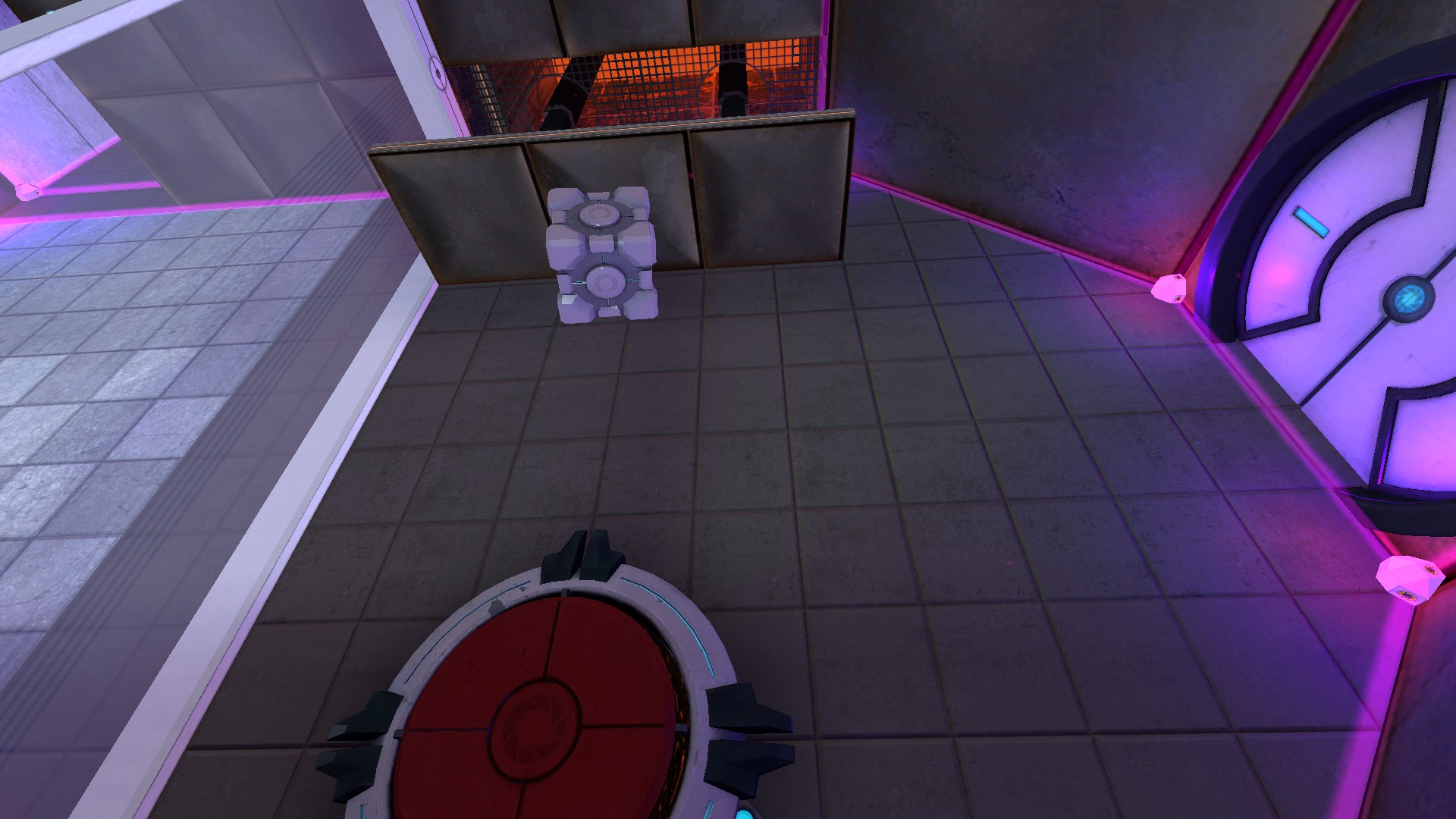 A wall panel in the sideways chamber pushes the cube back down where the player can reach it.