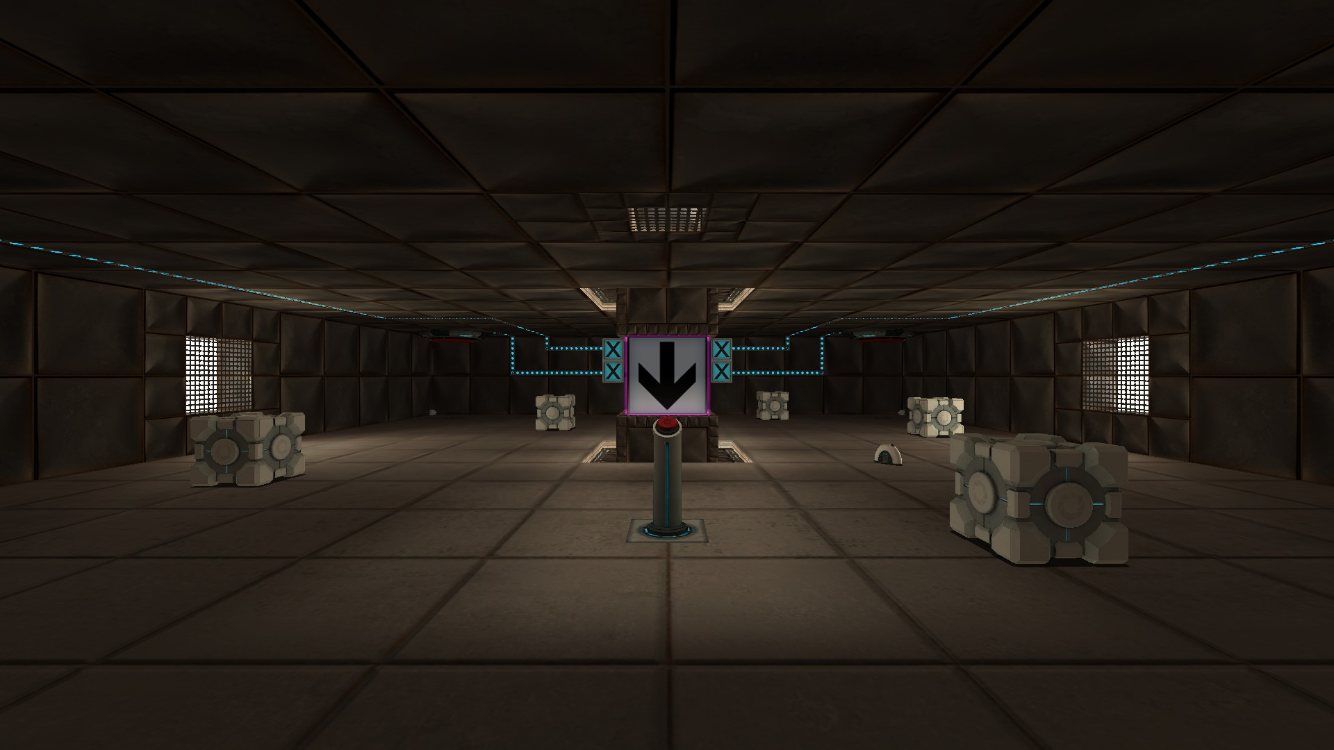 The first room has cubes, a sphere, and a radio about the floor, 4 buttons on the ceiling corners, and a big glowing down arrow in the middle, connected to a pedestal button.