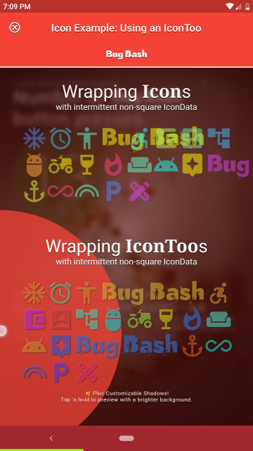 Screenshot preview of Icon Example app