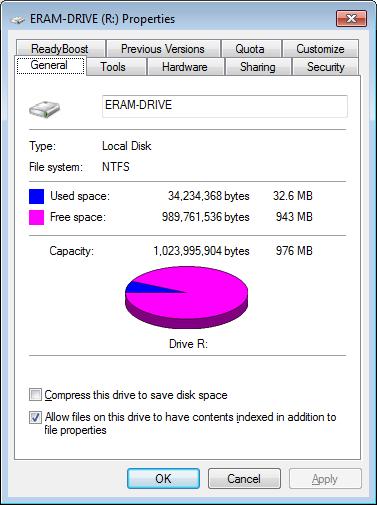 ERAM's RAM Disk Properties in a Windows 7 64-bit Virtual Machine