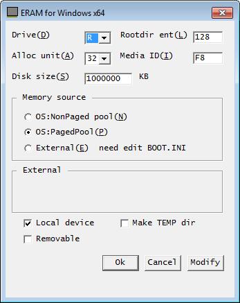 ERAM's Control Panel Applet in a Windows 7 64-bit Virtual Machine
