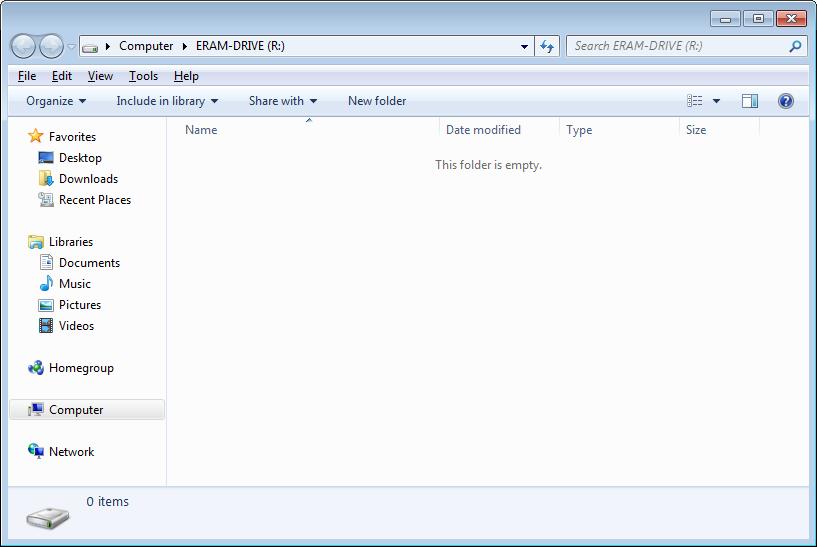 ERAM's RAM Disk Contents in a Windows 7 64-bit Virtual Machine