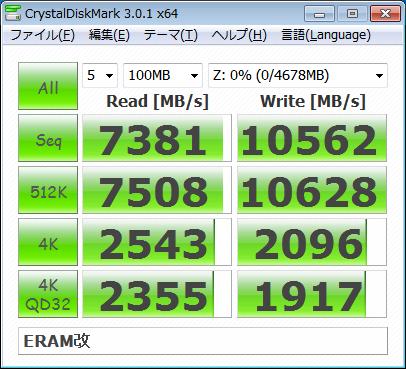 ERAM Benchmark done on Windows 7 64-bit