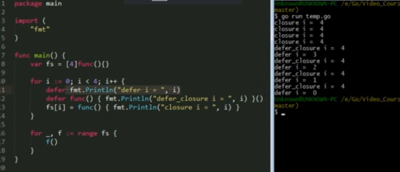 Go中闭包与defer调用例子