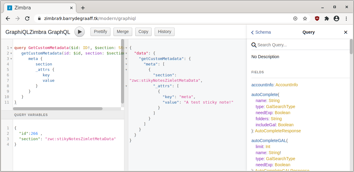 Built-in GraphQL reference, part 2 for Zimbra Tags Zimlet