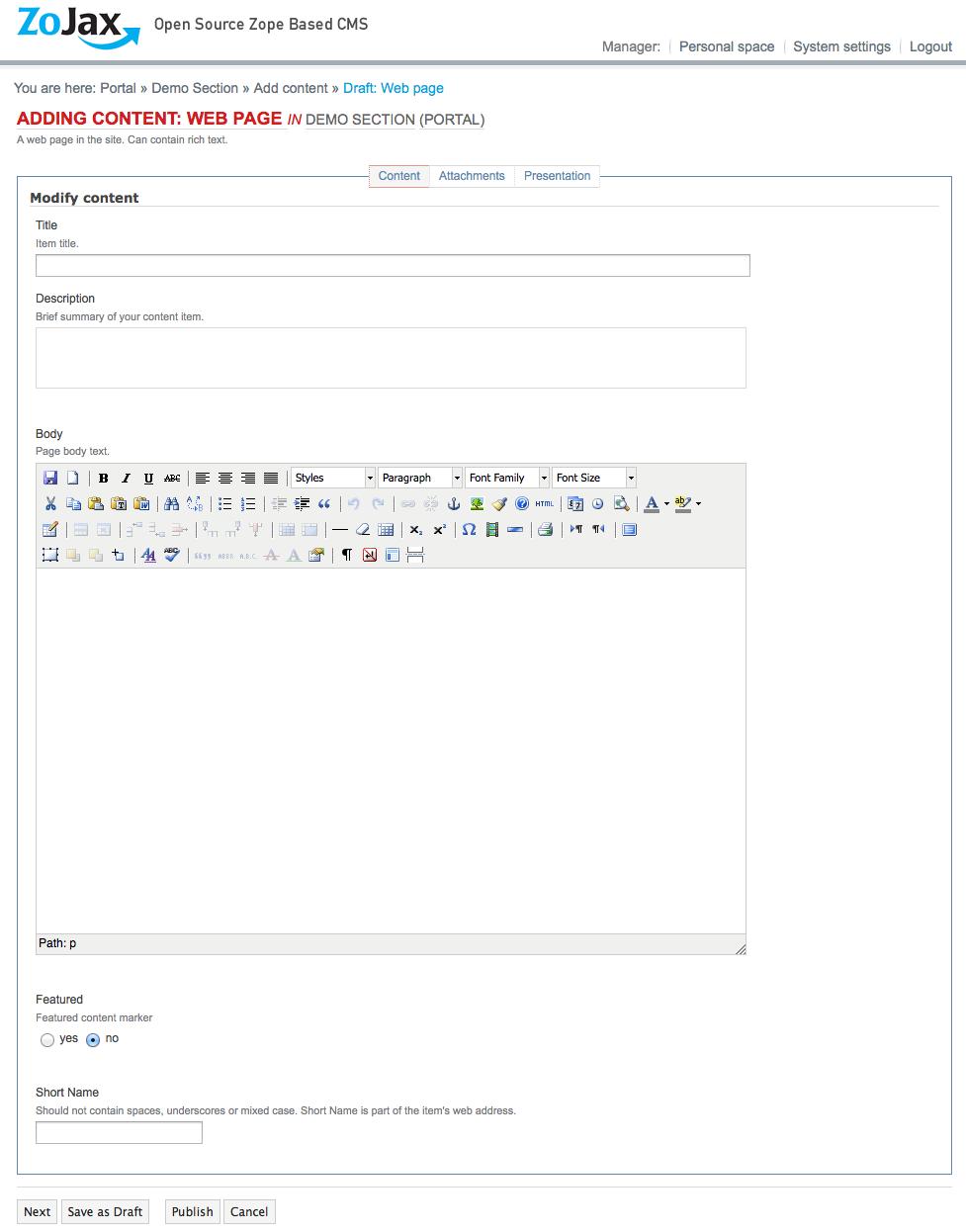 Add/edit a web-page form