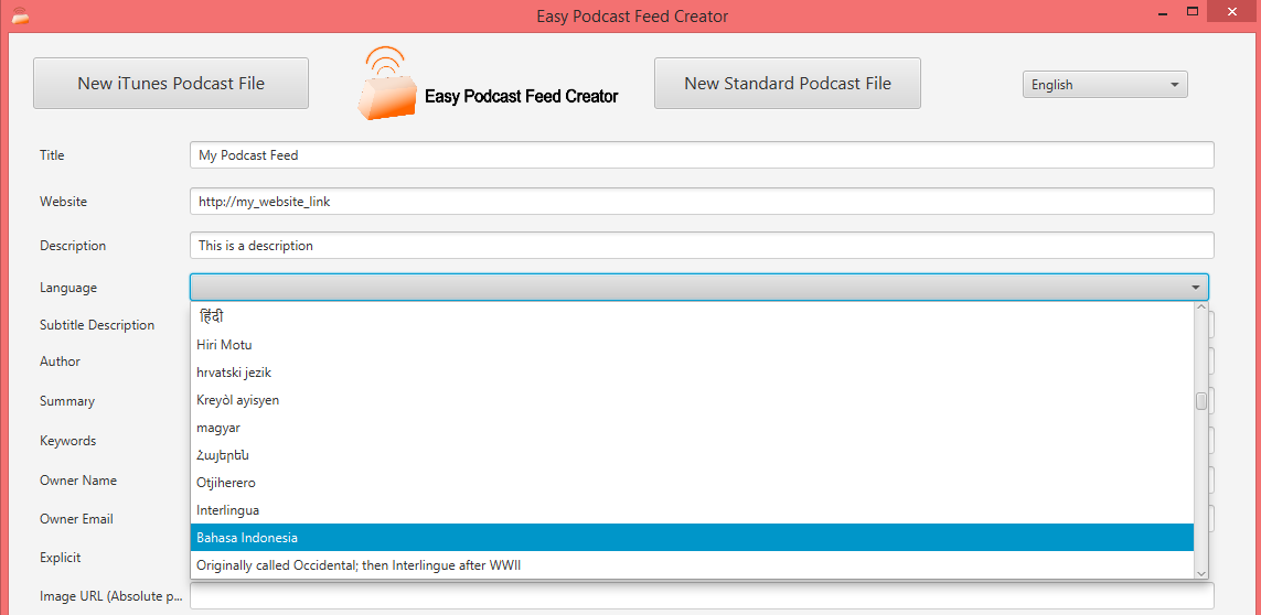 Screenshot of Application Easy Podcast Feed Creator