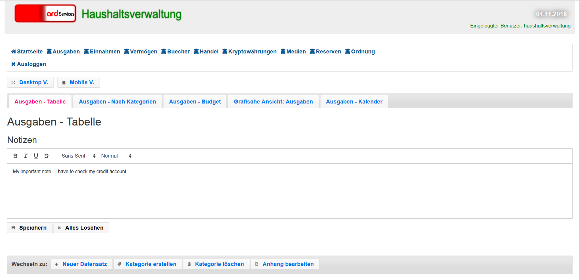 Screenshot of Application Haushaltsverwaltung